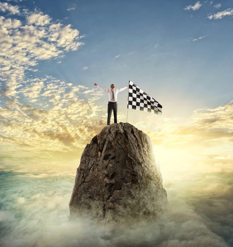 Reachs d'homme d'affaires le but Concept de détermination image stock
