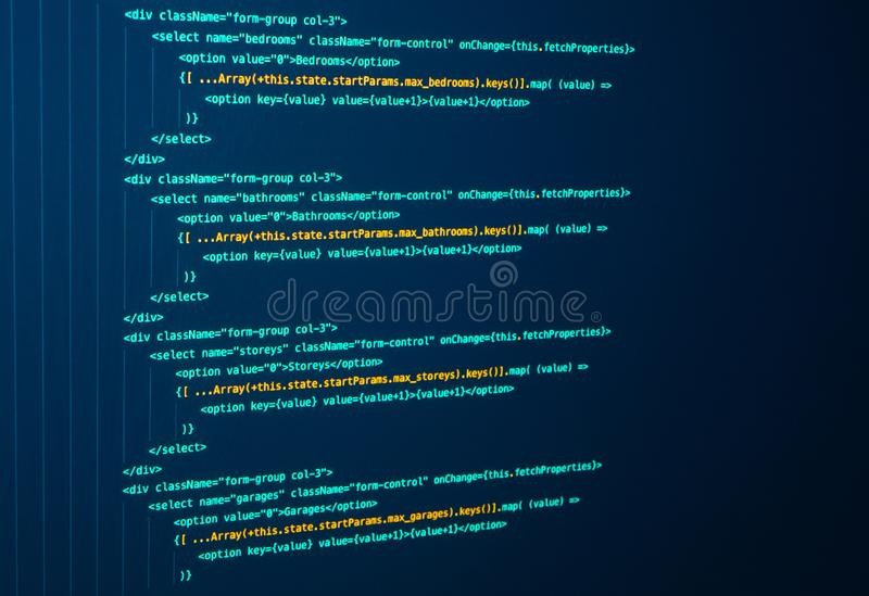 React Coding, Computer Language. Javascript. Java source code. Programming code on the screen. React Coding, Computer Language. Javascript. Programming code on stock photography
