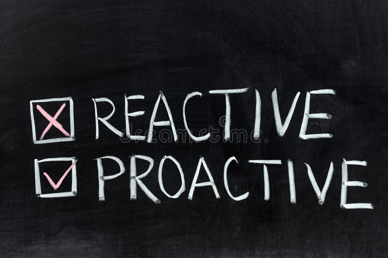 Reactive or proactive stock image