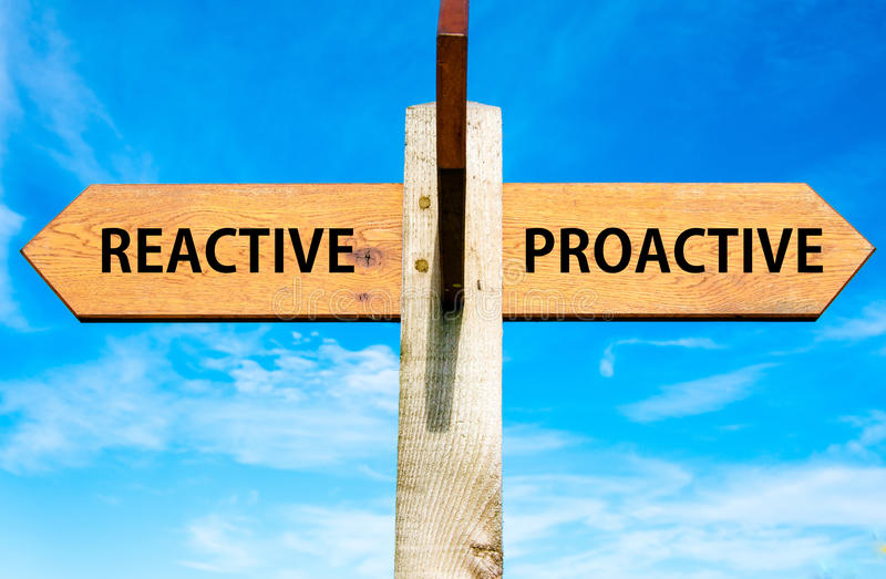 Reactive versus Proactive messages, Behaviour conceptual image. Wooden signpost with two opposite arrows over clear blue sky, Reactive versus Proactive messages stock image