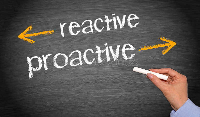 Reactive vs proactive stock images