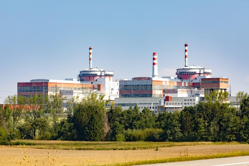 Reactor of nuclear power plant Temelin. NReactor of nuclear power plant Temelin with blue sky stock photos
