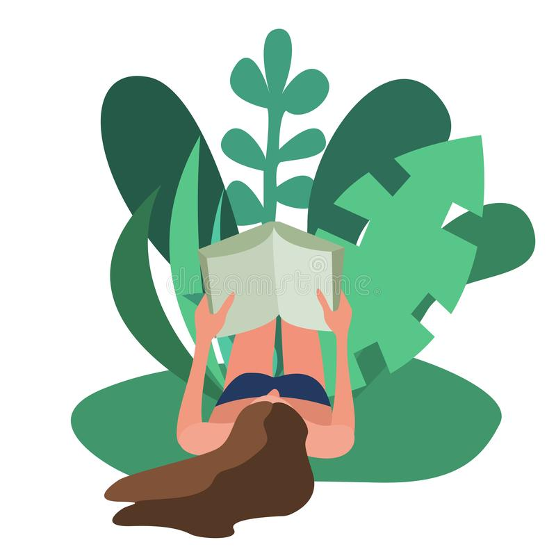 Woman lying reading a book outdoors at the weekend royalty free illustration