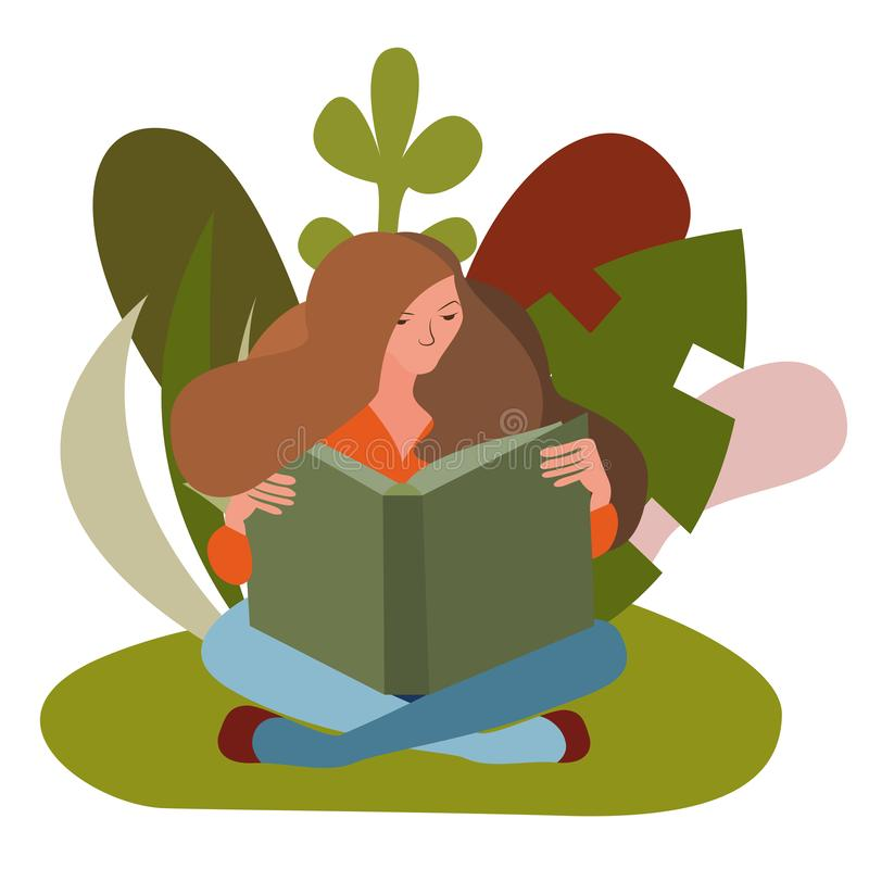 Woman sitting reading a book outdoors royalty free illustration