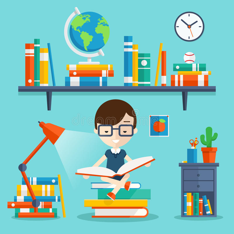 Read books concept stock illustration