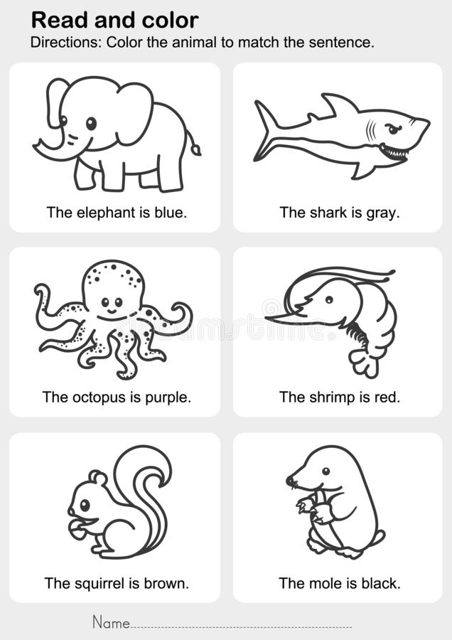 Read And Color : Color The Animal To Match The Sentence Stock Vector -  Illustration Of Child, Shark: 157990363