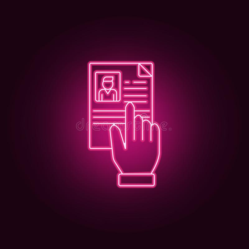read CV icon. Elements of interview in neon style icons. Simple icon for websites, web design, mobile app, info graphics vector illustration