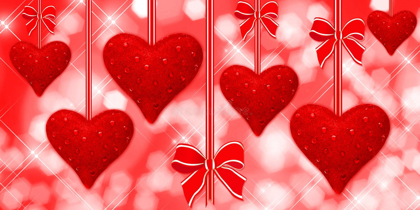 Read Hearts Hanging With Bows Stock Photo
