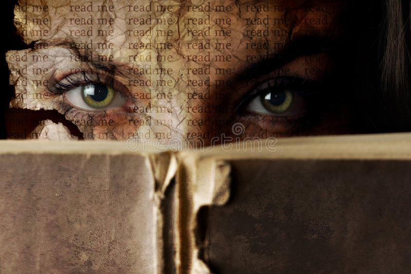 Read me. Woman face like a torn paper with old Bible book stock image