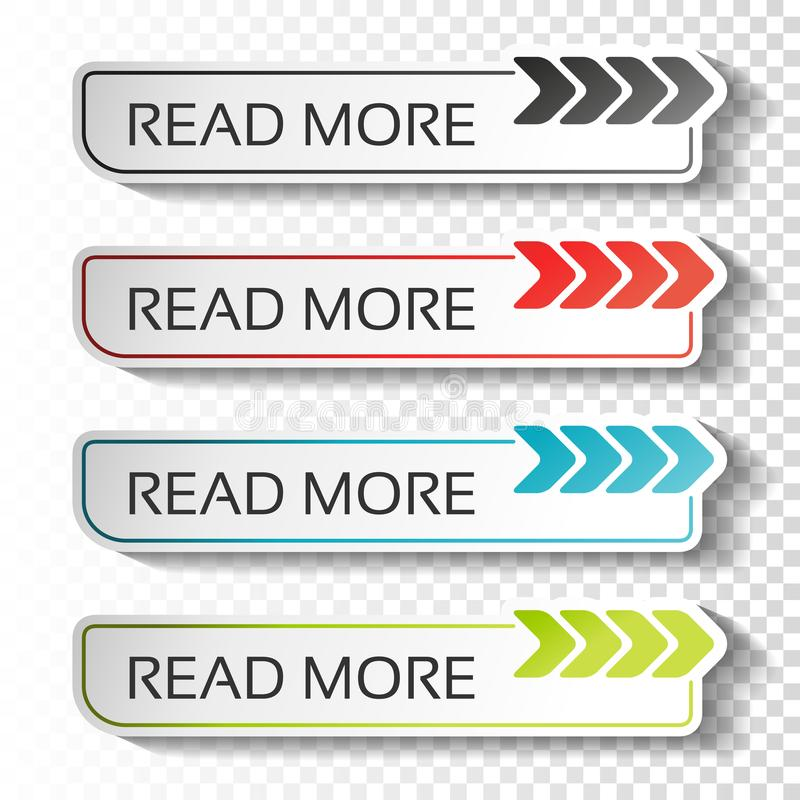 Read more buttons with arrow pointer. Black, blue, red and green labels. Stickers with shadow on transparent background for busine royalty free illustration