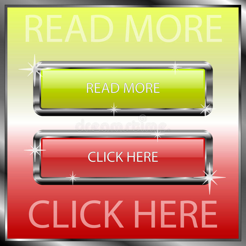 Read more and click here buttons on a color reflective surface royalty free stock photos