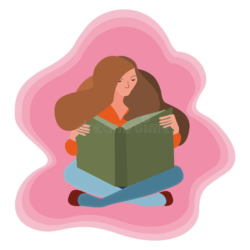 A woman is sitting reading a book on a pink background. royalty free illustration