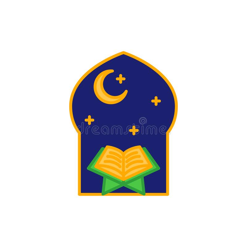Read Quran at night time in the mosque. Simple monoline icon style for muslim ramadan and eid al fitr celebration royalty free illustration