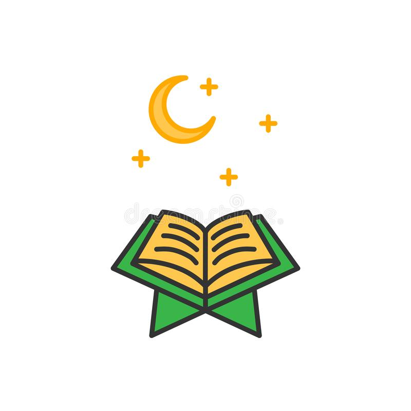 Read Quran at night time. Simple monoline icon style for muslim ramadan and eid al fitr celebration vector illustration