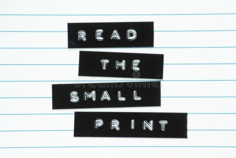 Read The Small Print stock photos