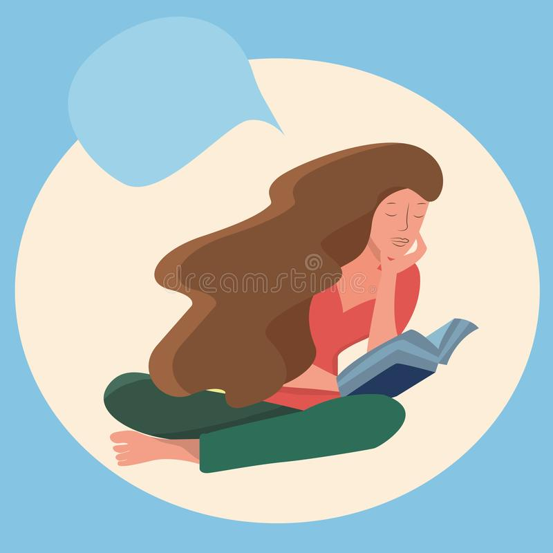 Woman sitting down reading a book on an abstract background. vector illustration