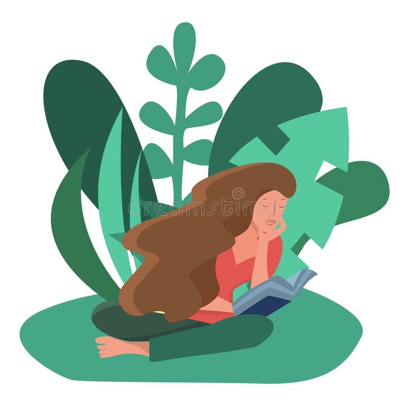Woman sitting reading a book outdoors stock illustration