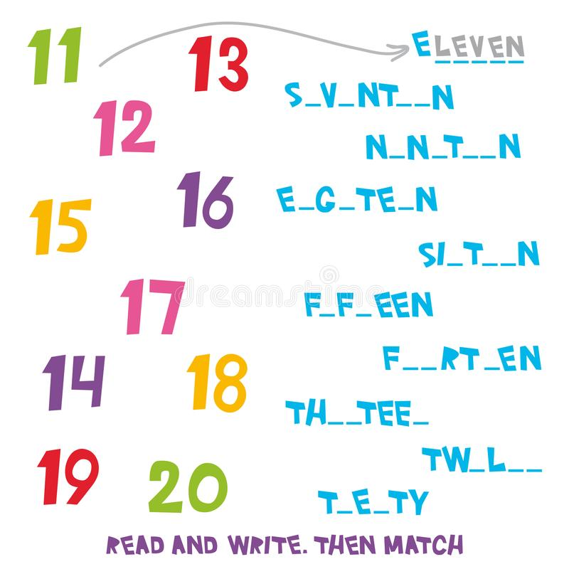 Read And Write Then Match The Numbers 11 To 20 Kids Words Learning