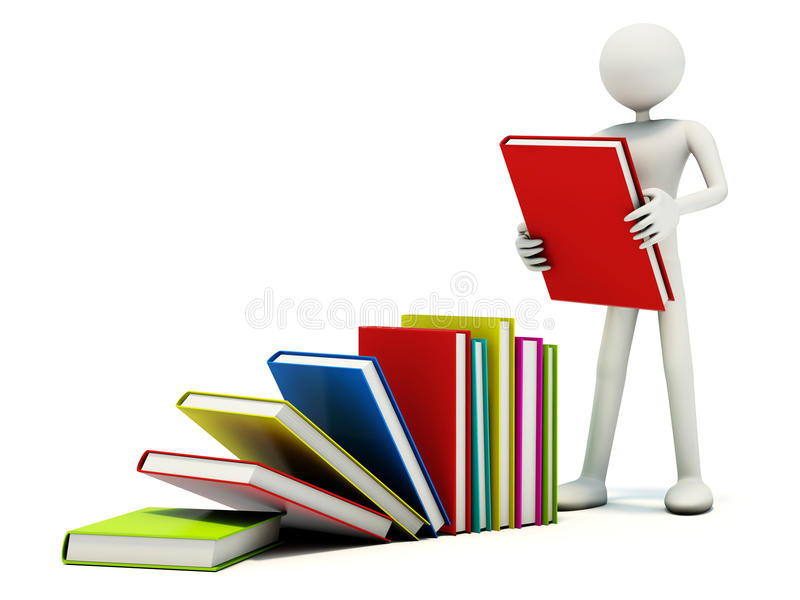 Reader with books stock illustration