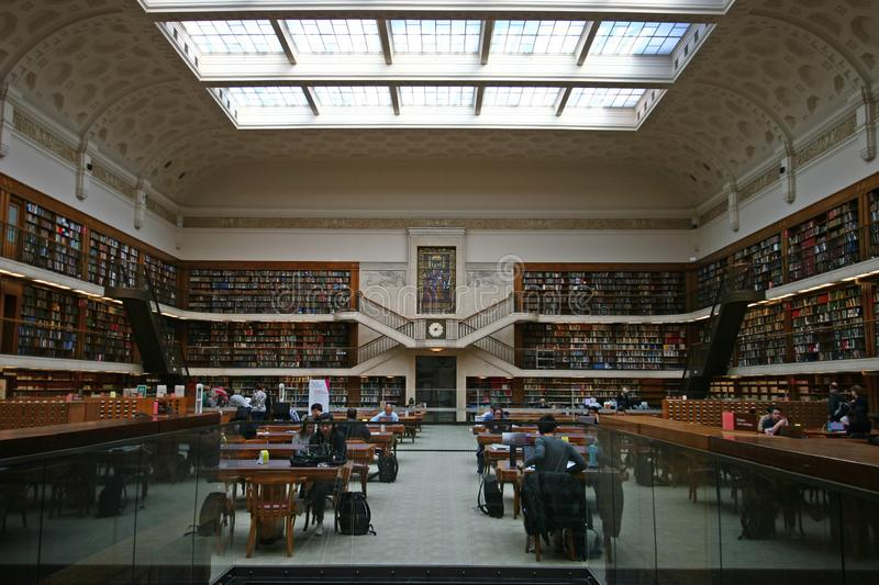 Neo-classical white Mitchell Reading Room in historic State Library of New South Wales NSW interior, Sydney downtown CBD Australia stock photo