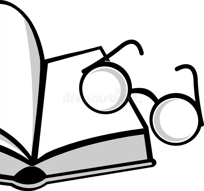 Reading. Vector illustration of eye glass and reading book royalty free illustration