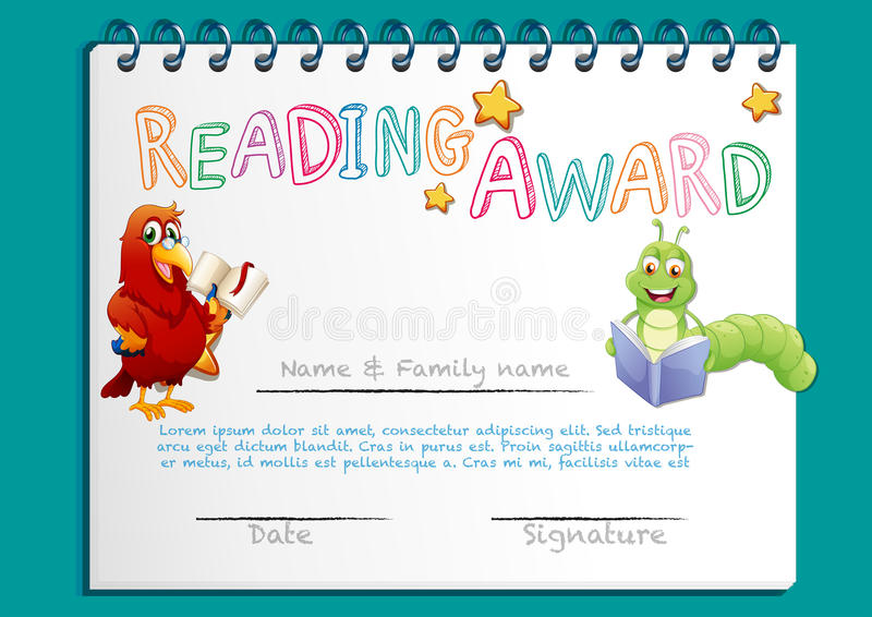 Reading Award Certificate Template With Bird Reading Book Stock