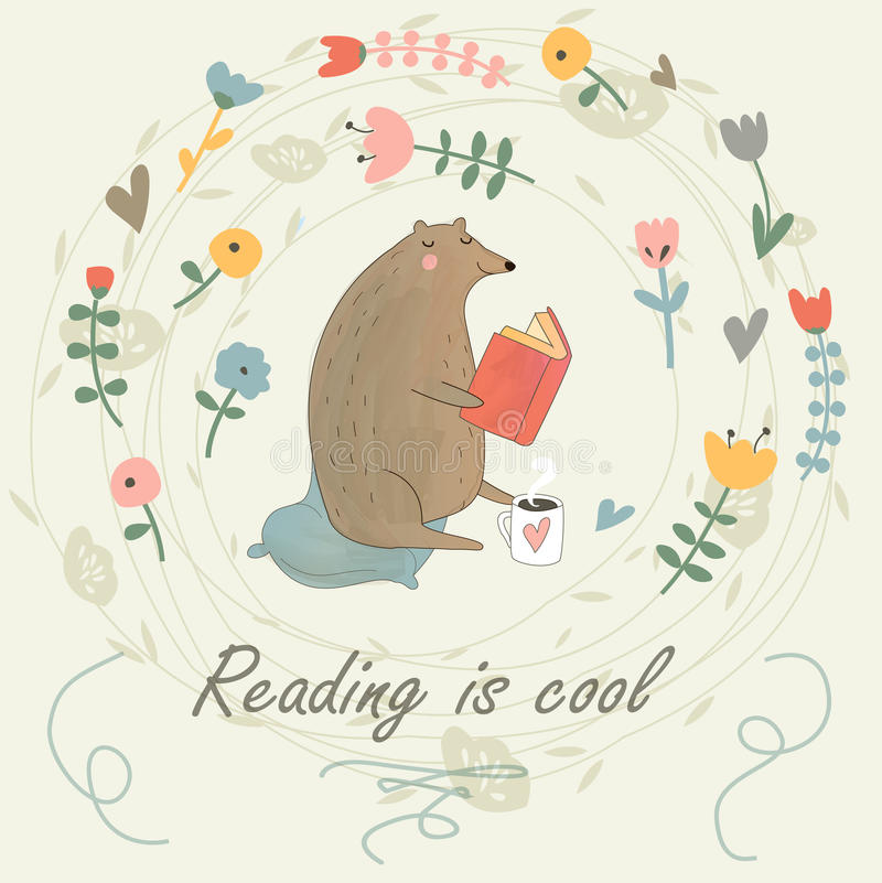 Reading bear. Vector illustration of a cute bear reading a book. Reading is cool poster stock illustration