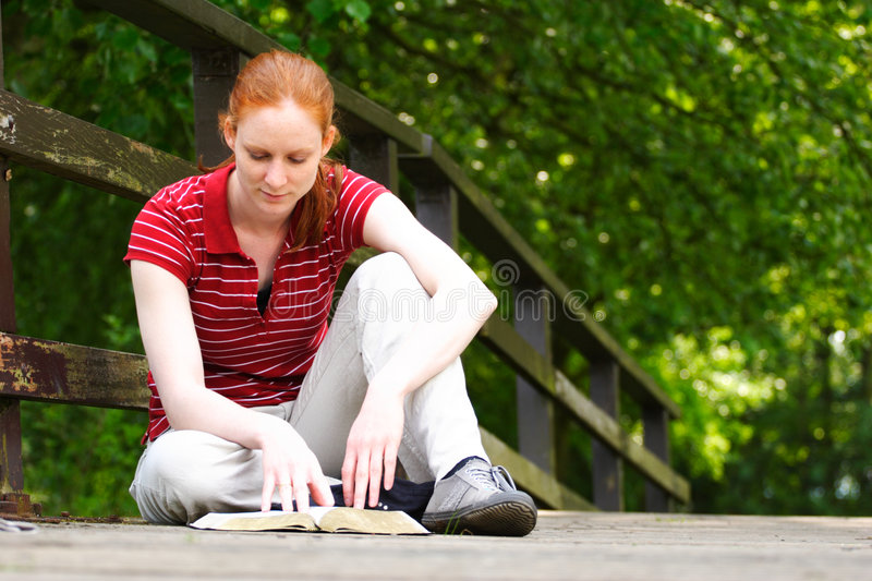 Download Reading The Bible In The Park Stock Photo - Image: 9196214