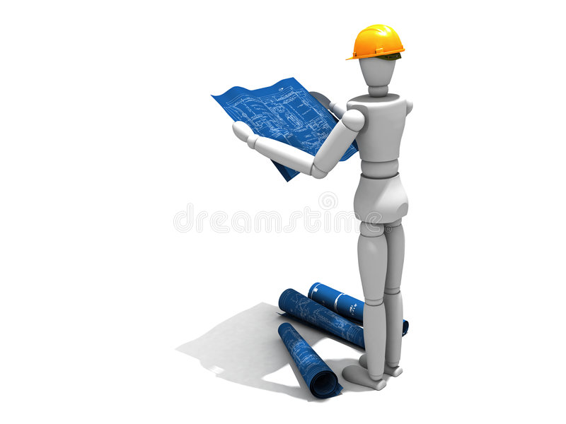 Download Reading the blueprints stock illustration. Image of isolated - 5959337