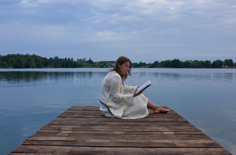 Download Reading book stock image. Image of blue, evening, casual - 20949289