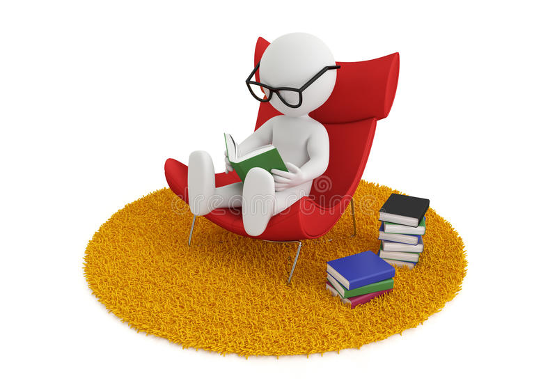 Reading book chair. 3d white people reads a book in chair, isolated white background, 3d image royalty free illustration