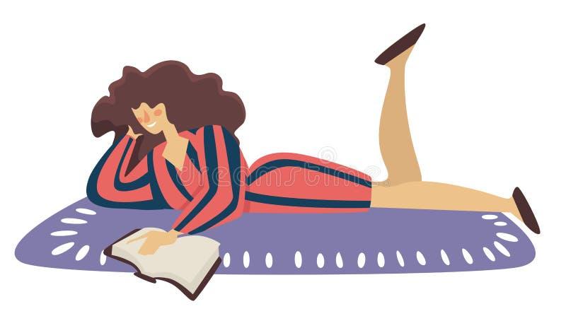 Reading book on floor, isolated woman lying on carpet stock illustration