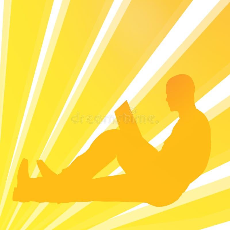 Reading book man vector illustration
