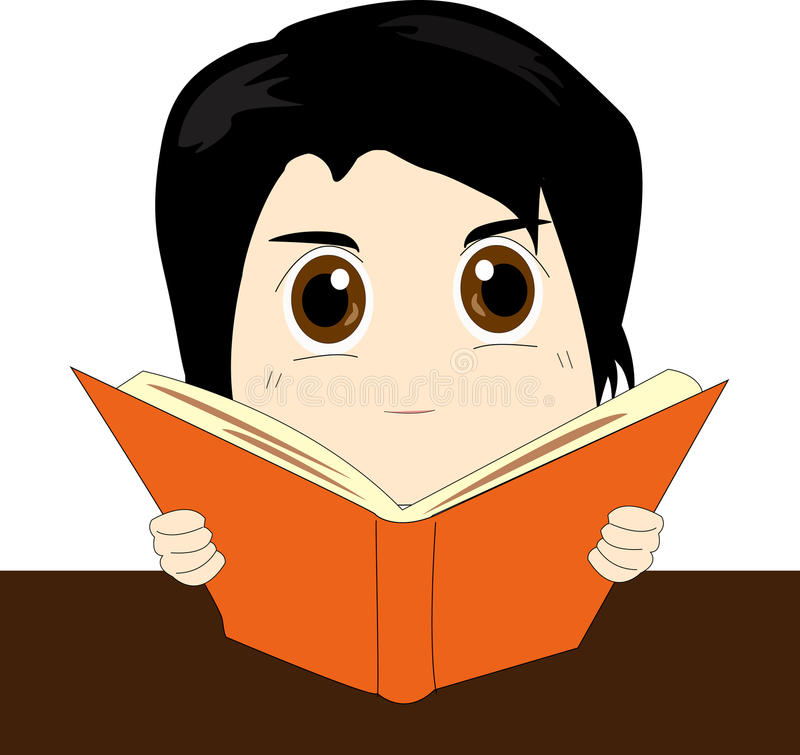 Reading. Opening for reading a orange book stock illustration