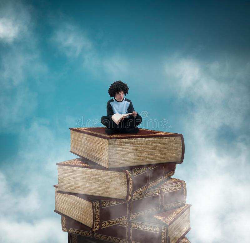 Reading a book on a tower. Young man reading a book on a tower of books in the sky stock illustration