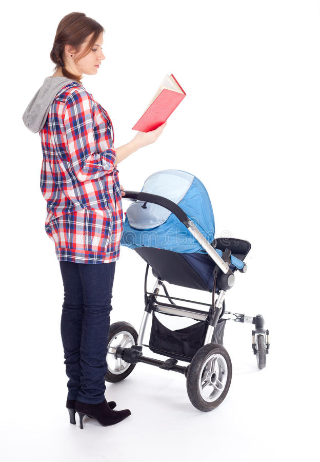 Reading Book Young Mother With Baby Pram Stock Photography