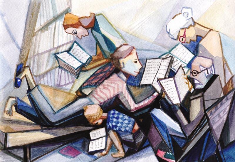 Reading books. Everybody in family like read books stock illustration
