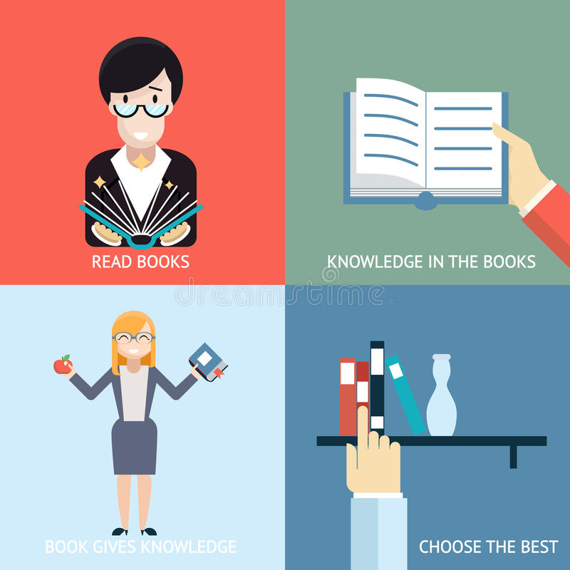 Reading Books Signs and Symbols Icons Hands royalty free illustration