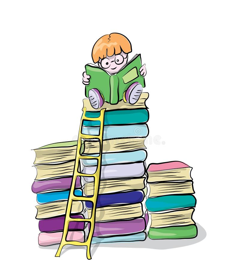 Reading boy on books, vector clip-art, concept of knowledge and education for children stock illustration