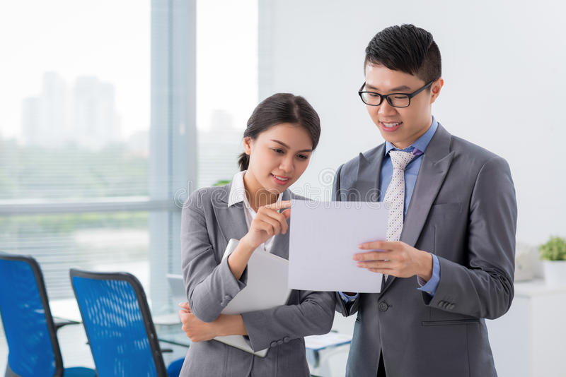 Reading business document royalty free stock image