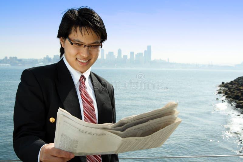 Reading businessman royalty free stock photo