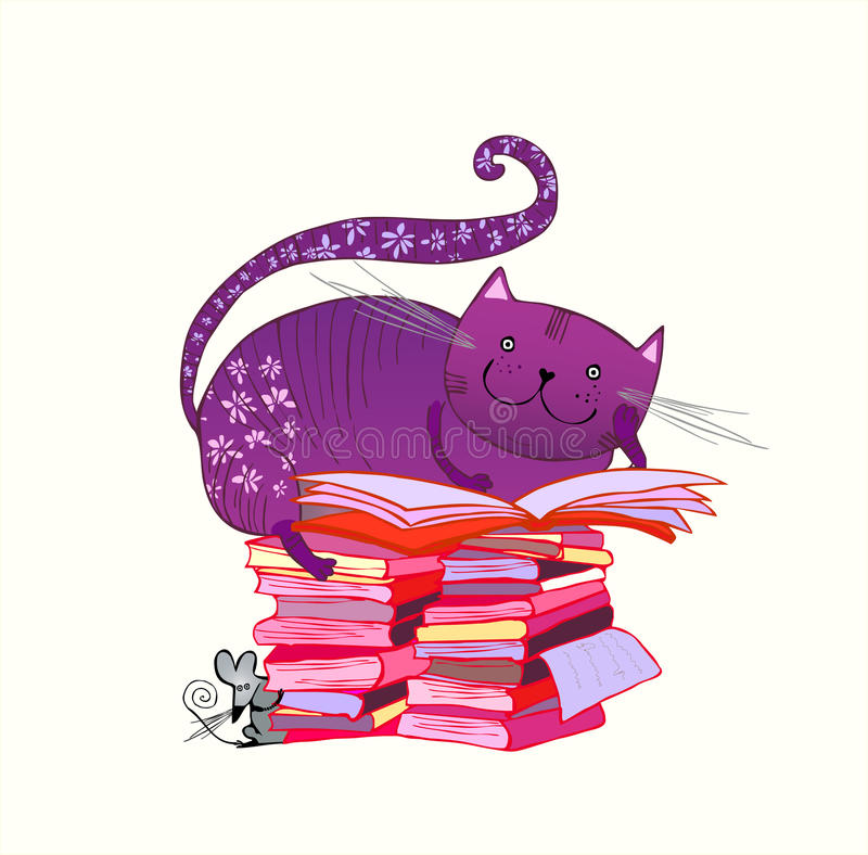 Reading cat. Cat lying on the pile of books and reading vector illustration