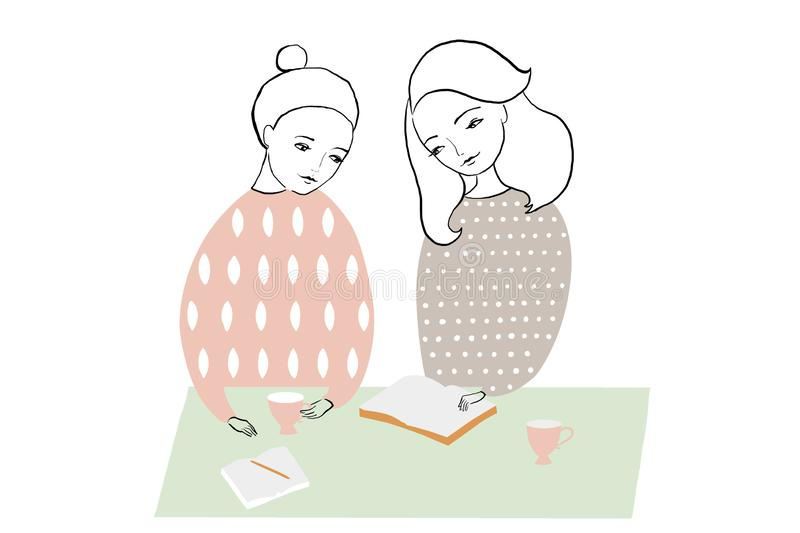 Illustration of women or girls reading and studing book, making notes at the table. Pattern feminine design. royalty free illustration