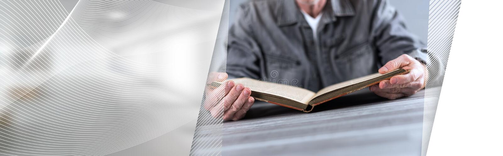 Reading concept; panoramic banner royalty free stock image