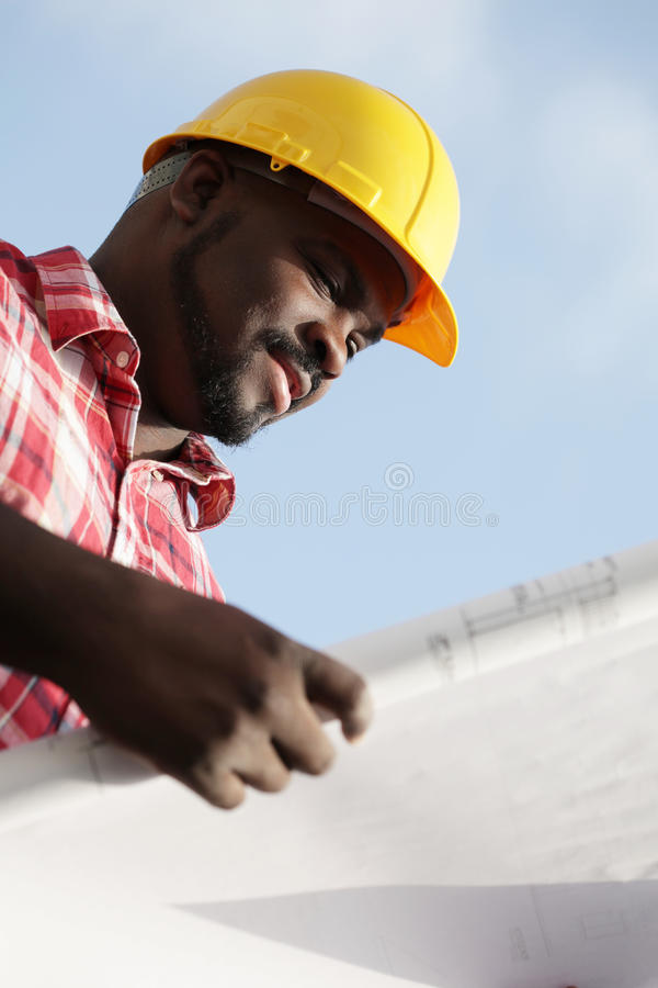 Reading Construction Plans Stock Image