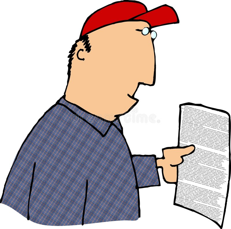Download Reading a contract stock illustration. Image of funny, male - 65184