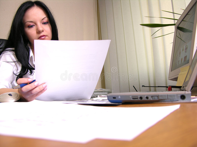 Reading the contract stock photo