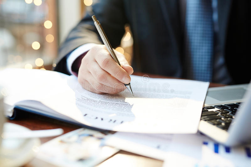 Reading contract stock images