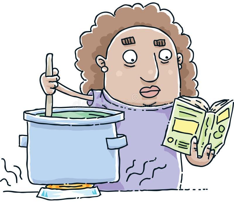 Reading Cookbook. A cartoon woman follows a recipe in a cookbook as she stirs a pot vector illustration