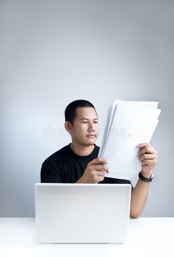 Download Reading documents stock photo. Image of workload, notebook - 5080186